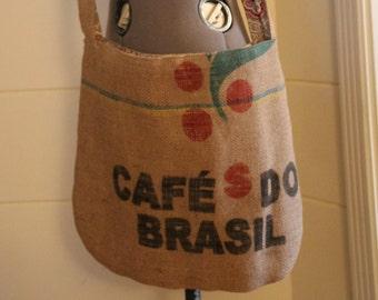 upcycled coffee sack boho messenger bag pink purple grey