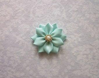 Aqua Robin's Egg Blue Satin Flower, Rhinestone, Pearl, Silver or Gold, Hair Clip, Barrette, Bobby Pin, Brooch, Shoe Clips, Bridal, Wedding