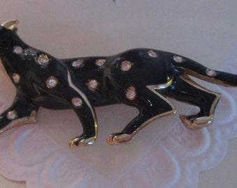"vintage quality goldtone Black Leopard brooch in excellent condition 3""long"