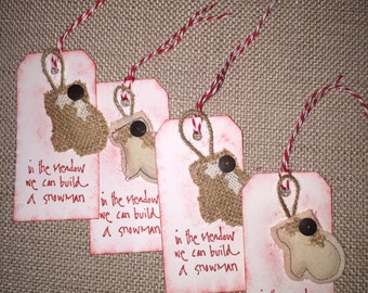 Set of 4 Holiday Mitten Gift Tags