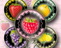 "Great Idea for Jewelry Making COLORFUL FRUITS - bottle cap images - 1'' circles, 25mm, 30mm, 1.25"", 1.5"" for Jewelry Making Buy 2 Get 1 Free"