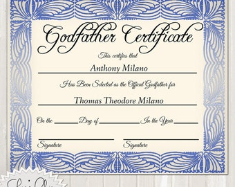 GODFATHER CERTIFICATE - Official Godfather Certificate - 8 x 10 or other size - High Quality 300 dpi Custom