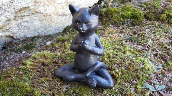 Meditating Cat Buddha Cat Yoga Cat Black Cat Garden Decor