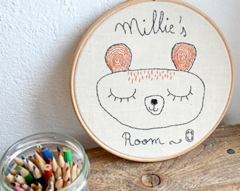 Personalized gift/Hoop embroidery/ Nursery Decor / Custom frame/ Baby shower gift/ fiber art/ embroidered name/ baby gift/ children room