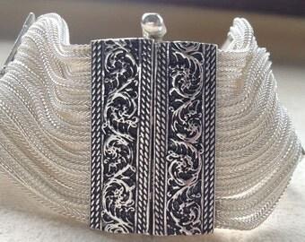 Silver bracelet wide, rectangular vine clips clasps vintage style
