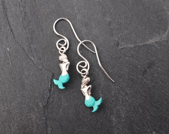 Mermaid Earrings - Sterling Silver Earwires, Aqua Blue