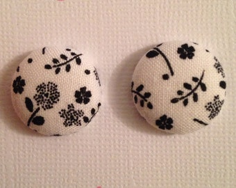 Black and White Flower Pattern Fabric Covered Button Earrings