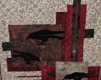 Wall Hanging Quilt - Corvidae - Raven - Crow