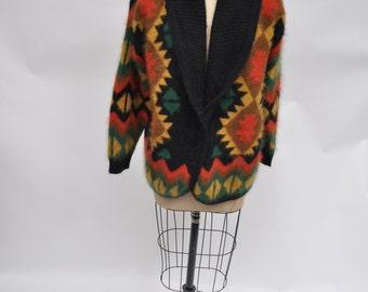 vintage sweater SHAWL collar wrap 1980s angora rabbit hair lambswool large