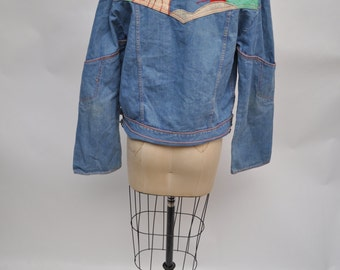 vintage denim jacket 1970s jean patchwork applique sunset 70s oversized boyfriend fit
