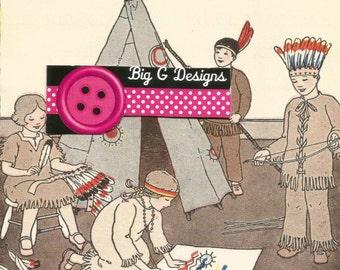 Vintage children's reading book art illustration children playing Indians digital download printable instant image