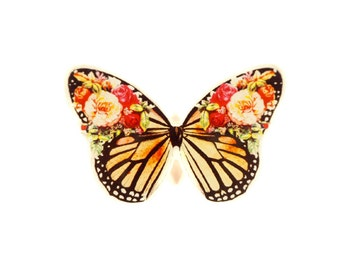 Floral Monarch Butterfly Brooch
