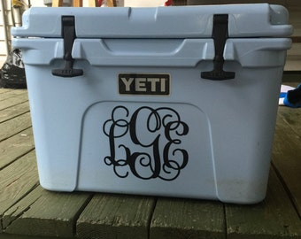 Monogram Vinyl Decal, Cooler Monogram, Personalized Decal, Monogram Sticker for Cooler, Cooler Decal, Personalized Cooler Monogrammed Cooler
