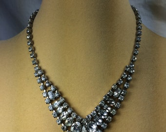 SALE !   Vintage  Clear Rhinestone  Choker Necklace