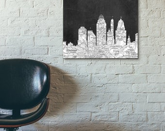 Cincinnati City Skyline, Black And White Art,Black And White Skyline,  Cincinnati Map