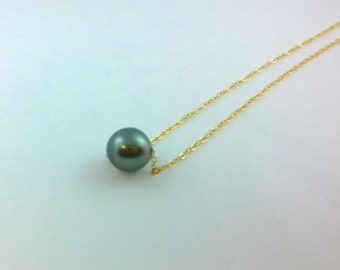 Tahitian Pearl Sterling Silver Gold Filled Pendant Necklace FREE SHIPPING!