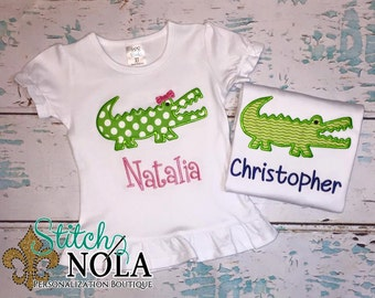 Alligator Shirt with Embroidered Name or Bodysuit, Personalized Alligator Tee