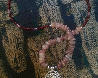 New! Strawberry quartz with Preciosa ruby seed beads and antique dusty pink seed beads. Floral filigree sterling silver pendant.