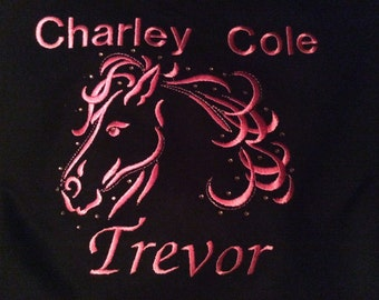 Horse Head hoodie personalised with added crystals - super shimmering