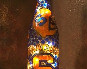 Syracuse Orange Lighted Wine Bottle