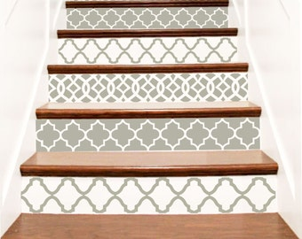 Decorative Vinyl Stair Decals . Trellis Decor Steps Riser Stickers . Your  Choice Of Color And