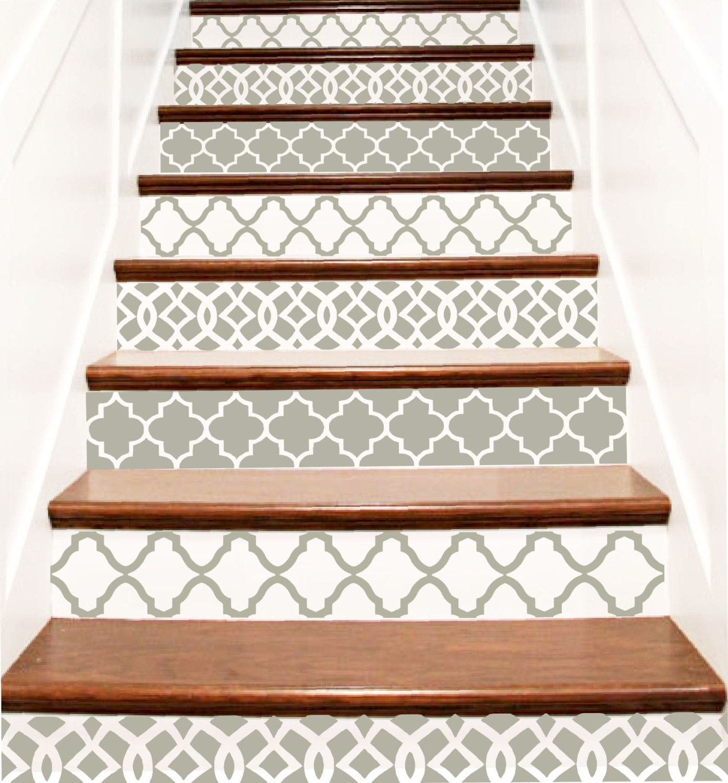 decorative vinyl stair decals trellis decor steps riser. Black Bedroom Furniture Sets. Home Design Ideas