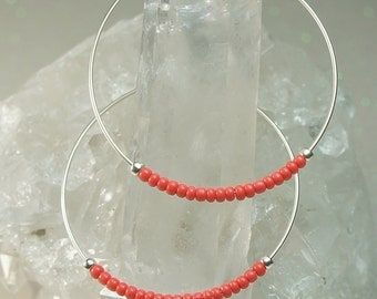 Hoop Earings, Coral Seed Bead Earrings, Silver Earrings, Hoop Earrings, Small-Medium-Large Hoops-You Pick the Size, Also Available in Gold