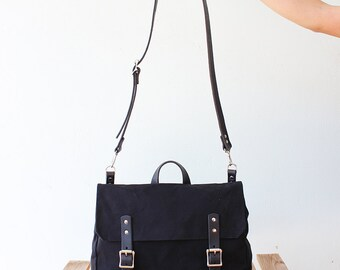 Waxed canvas messenger bag with black leather details, waxed canvas satchel, laptop bag, 4 colors