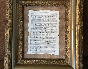 Framed hymnal page