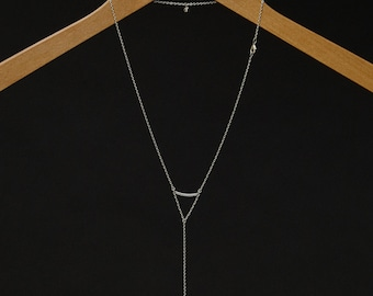 Crescent - Back Necklace (BN-06S) Silver