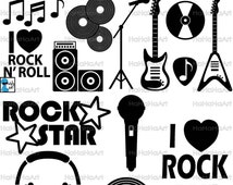 Rock And Roll Monogram - Cutting Files Svg Png Jpg Eps Dxf Digital Graphic Design Instant Download Commercial Use Music (00798c)