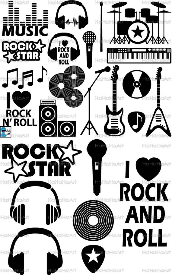 Rock And Roll Monogram Cutting Files Svg Png Jpg Eps Dxf