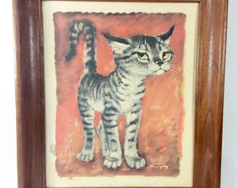 1960s Sassy Kitty Lithograph by Gig in Wooden Frame
