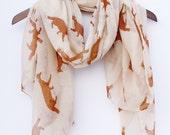 Khaki Fox Scarf Woodland Scarf Animal Scarf Fox Print