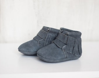 The Baby Boutique Gray Moccasins *REDUCED PRICE*