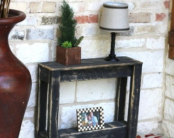 black rustic accent end table