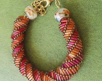 Hand made beadweaving bracelet orange gold beads glass firepolish beads adjustable clasp