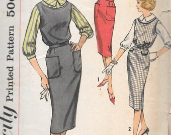 Vintage 1950s Simplicity Sewing Pattern 2696- Misses' Jumper or Dress and Blouse size 18 bust 38