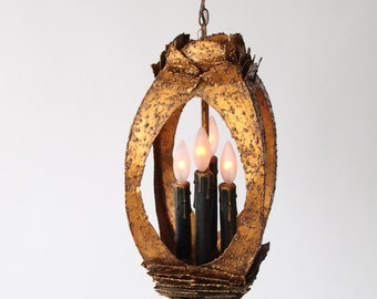 22 in. BRUTALIST PENDANT lamp patinated metal in the manners of Tom Greene USA 1960 era