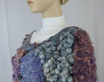Freeform Merino Wool Kid Mohair Bead Embellished Shawl Wrap  Textured in Subtle Blue, Purple and Adobe