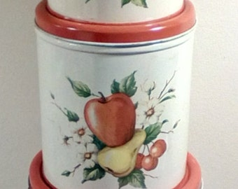 Vintage 1950s 3 piece Decoware metal canister set, Fruit and flower design canisters, Metal canisters, Vintage metal ware, Storage tins