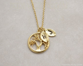 Custom stamped necklace, Personalized family tree necklace, Tree of life pendant, Gold initial leaves, Mother gift necklace, Monogram leaf