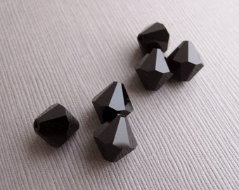 6pcs Vintage Black Faceted Rhinestone Beads 10x9.5mm - B-10BLKSO-82