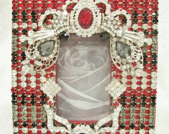 Red Photo Frame Designed using Red, Black, Black Diamond, and Clear Rhinestones.