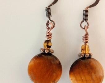 Brown Earrings, Bead Earrings, Dangle Earrings, Brown Glass Earrings, Copper Earring Wires, Brown Glass Dangle Earrings - BE0034