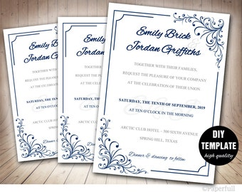 Elegant Wedding Invitation Template,Navy Blue Wedding Invitation,Blue Wedding,DIY Wedding Invitation,Marine Wedding Invitation