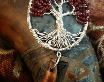 Game of Thrones Inspired Weirwood Yggdrasil Tree of Life Pendant with real Tibetan Wolf's Tooth