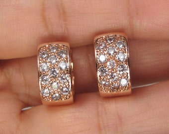 Pave CZ Small Hoop 18K Rose Gold Plated  EARRINGS I15