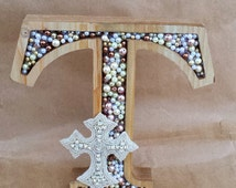 Pearl Monogram Table Decoration for Wedding; Pearl Letter; Cross Wedding Decor; Monogram Wedding Decor; Wooden Letter Decor; Christian