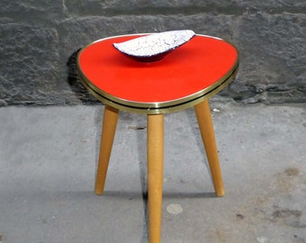 Mid Century small triangular red plant table